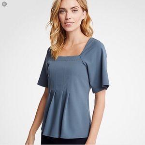 Ann Taylor Gray Slate Blue Top Work Blouse XS 0 2